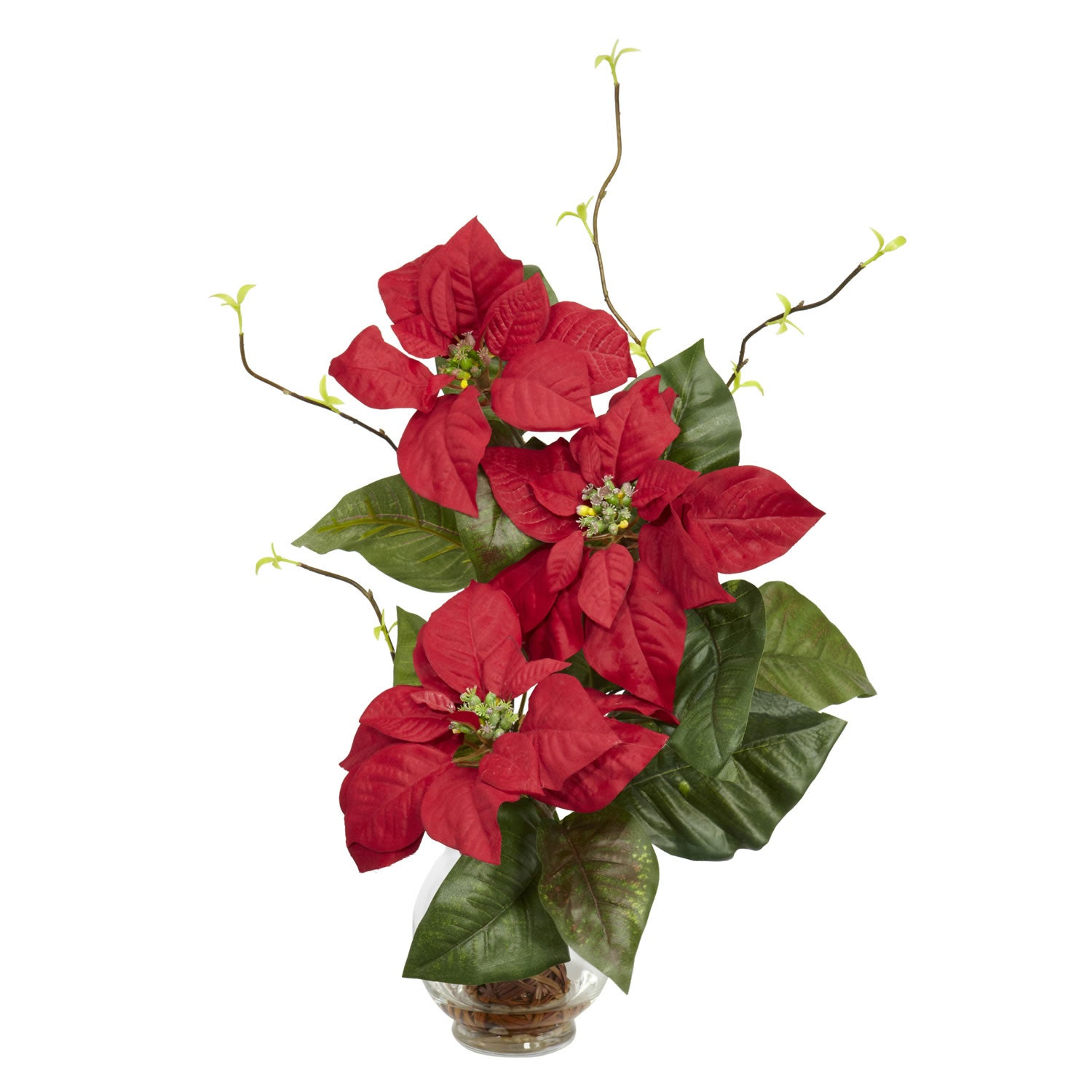 Shop Poinsettia With Fluted Vase Silk Flower Arrangement Ships To