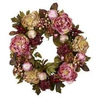 Nearly Natural Peony Hydrangea Wreath