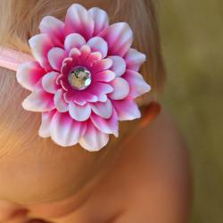 Infant Pink-Cream Flower Nylon Headband