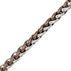 Two-tone Stainless Steel Men's 8.5-inch Wheat Chain Bracelet By Ever One - Thumbnail 1