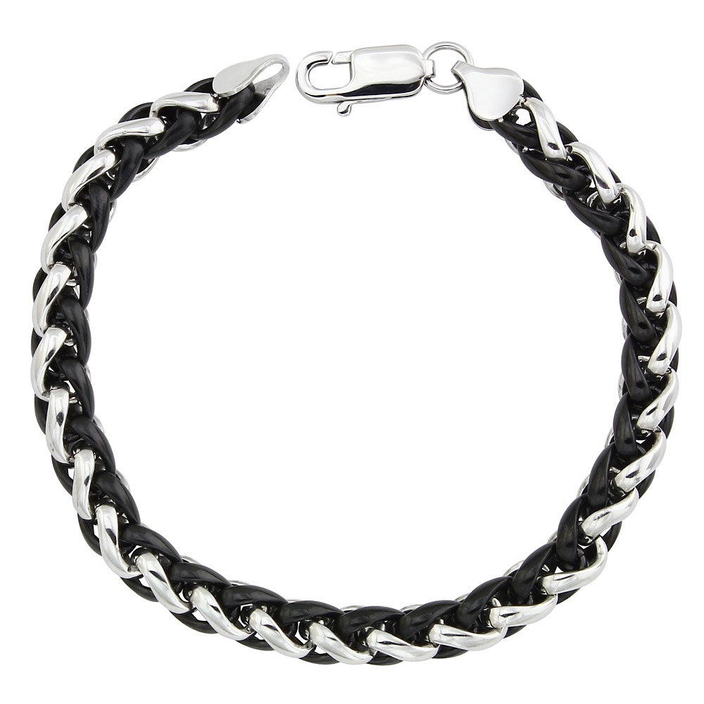 Two-tone Stainless Steel Men's 8.5-inch Wheat Chain Bracelet By Ever One