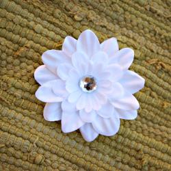 Infant White Flower Nylon Headband - Thumbnail 1