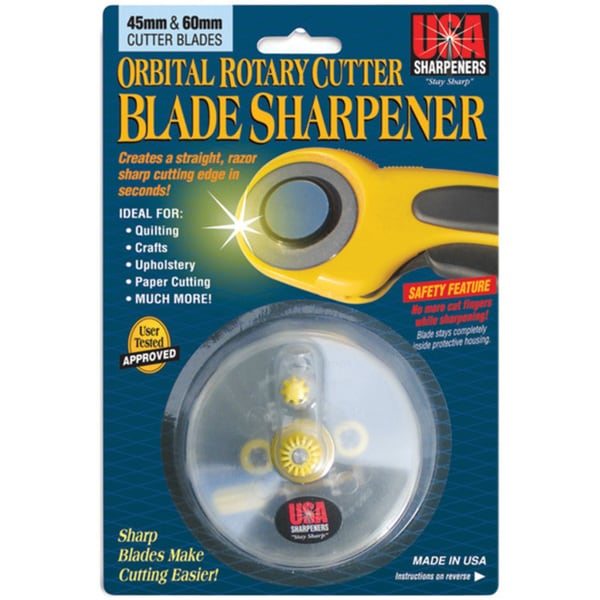 Yellow Orbital Rotary Blade Sharpener with Improved Cutting Angle