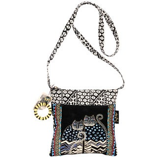 Laurel Burch Spotted Cats Zip Top Crossbody Tote