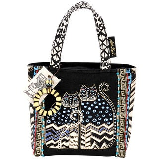 Laurel Burch Spotted Cats Medium Zip Top Tote