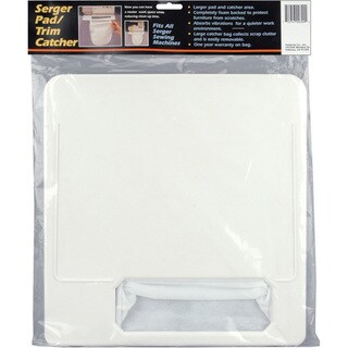 White Serger Pad and Trim Catcher with Polyethylene Foam Bottom