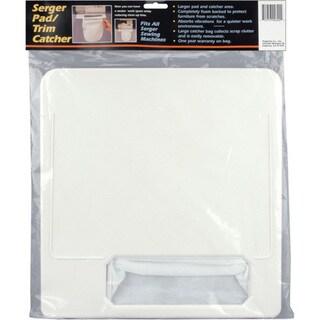 White Serger Pad and Trim Catcher with Polyethylene Foam Bottom