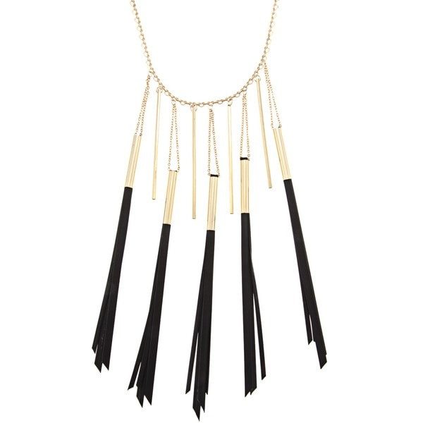 NEXTE Jewelry Goldtone Black Leather Tassle Necklace