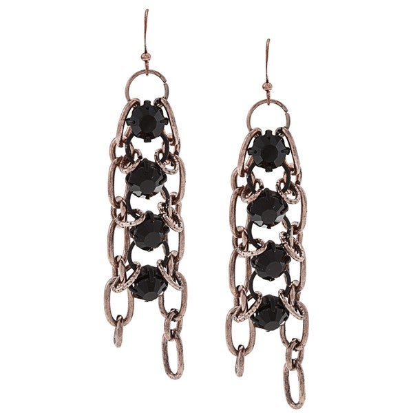 NEXTE Jewelry Rose Goldtone Anchor Chain Black Bead Earrings