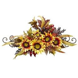 Sunflower Swag w/ Metal Frame Silk Flower Arrangement