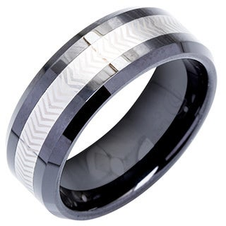 Men's Tungsten Ceramic Laser -Etched Band  By Ever One (8 mm)