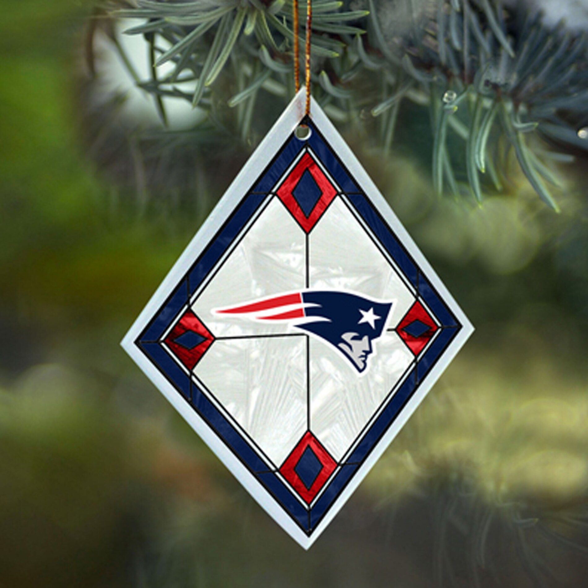 New England Patriots NFL Art Glass Ornament