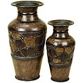 Rustic Brown Decorative 2-piece Metal Vase Set