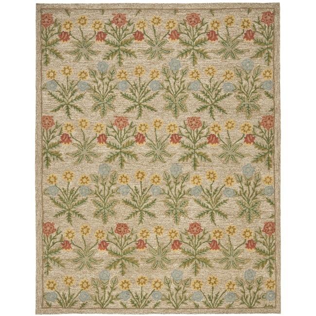 Safavieh Handmade Blossom Beige Contemporary Wool Rug (5' x 8')