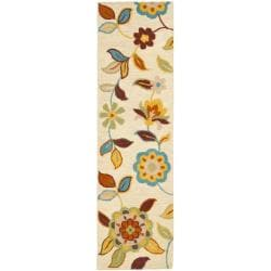 """Safavieh Handmade Blossom Beige Wool Rug with Thick Pile (2'3"""" x 8')"""