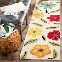 Safavieh Traditional Handmade Blossom Beige Wool Rug - 2'3 x 8'
