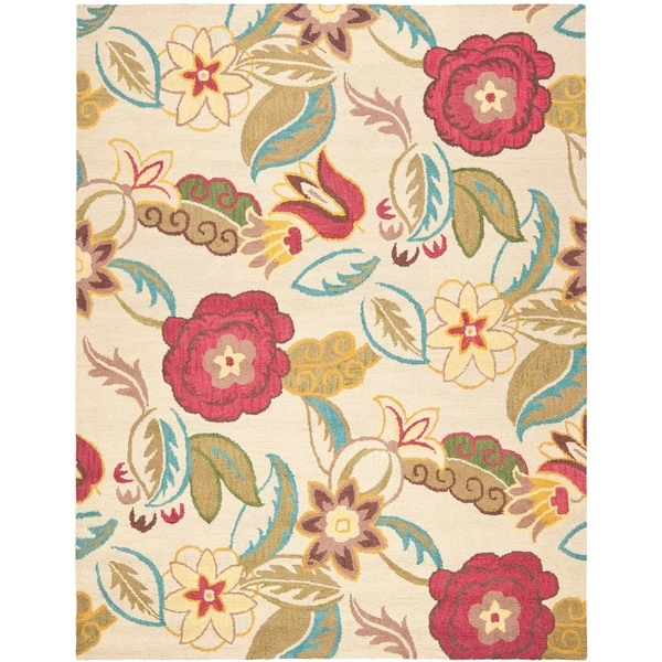 "Safavieh Handmade Blossom Paisley Beige Wool Rug - 8'9"" x 12'"