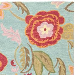 Safavieh Blossom Handmade Blue Wool Area Rug (8' x 10') - Thumbnail 1