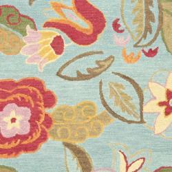 Safavieh Blossom Handmade Blue Wool Area Rug (8' x 10') - Thumbnail 2