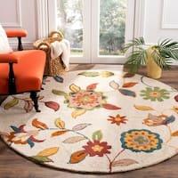 Safavieh Handmade Blossom Beige Wool Rug - 6' x 6' Round