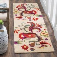 "Safavieh Handmade Blossom Beige Wool Rug with Canvas Backing - 2'3"" x 8'"
