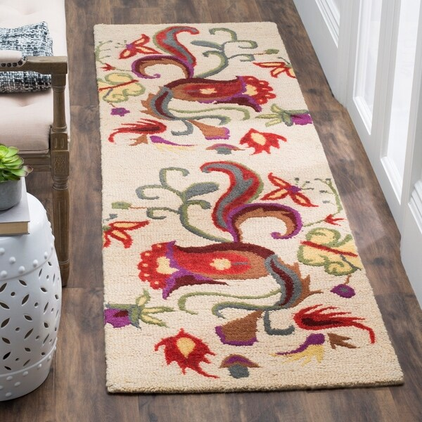 "Safavieh Handmade Blossom Beige Wool Rug with Canvas Backing - 2'3"" x 8'"