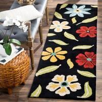 "Safavieh Handmade Blossom Black Wool Rug - 2'3"" x 8'"