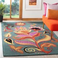 "Safavieh Handmade Blossom Blue Floral-Print Wool Rug - 2'6"" x 4'"