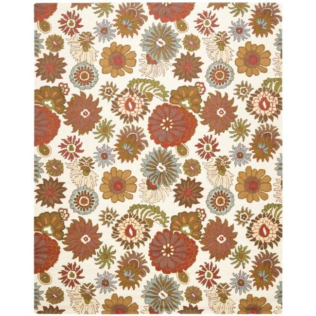 Safavieh Ivory Blossom Handmade Wool Area Rug - 8' x 10'