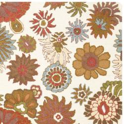 Safavieh Ivory Blossom Handmade Wool Area Rug (8' 10') - Thumbnail 1