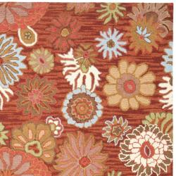Safavieh Handmade Blossom Red Wool Rug (8' x 10') - Thumbnail 1