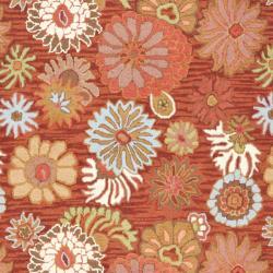 Safavieh Handmade Blossom Red Wool Rug (8' x 10') - Thumbnail 2