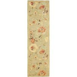 Safavieh Handmade Blossom Green Wool Rug (2'3 x 8')