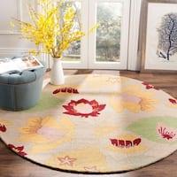 Safavieh Handmade Blossom Ivory Wool Area Rug - 6' x 6' Round