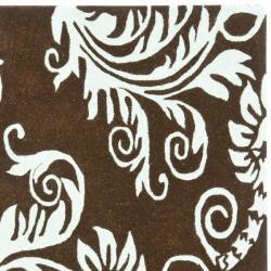 Safavieh Handmade New Zealand Wool Paris Brown/ Blue Rug (6' Square)