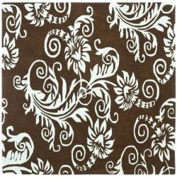 Safavieh Handmade New Zealand Wool Paris Brown/ Blue Rug - 6' x 6' Square - Thumbnail 0