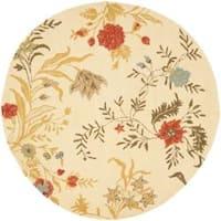 Safavieh Handmade Blossom Beige Wool Area Rug - 6' x 6' Round