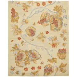 Safavieh Handmade Blossom Beige Pure Wool Rug (5' x 8')
