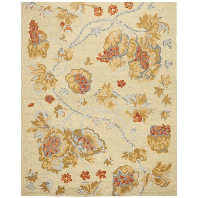 Shop Safavieh Handmade Blossom Beige Wool Rug With Cotton