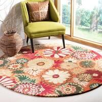 Safavieh Handmade Jardine Summer Rust Wool Rug - 6' x 6' Round
