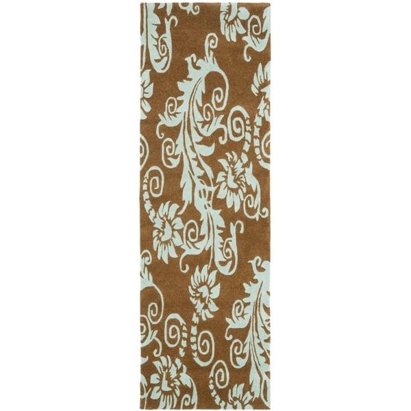 "Safavieh Handmade New Zealand Wool Paris Light Brown Rug - 2'6"" x 8'"