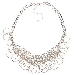 Roman Silvertone Round Open Link Fashion Bib Necklace