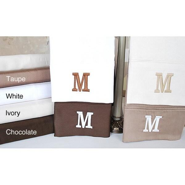Egyptian Cotton 300 Thread Count Solid Block 'M' Monogram Sheet Set