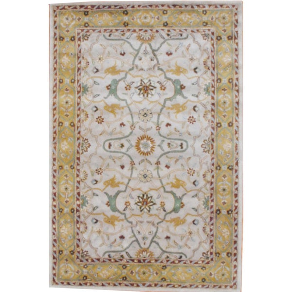 Herat Oriental Indo Hand-tufted Mahal Beige/ Gold Wool Rug (2' x 3')