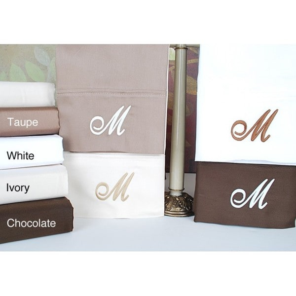 Egyptian Cotton 300 Thread Count Solid Script 'M' Monogram Sheet Set