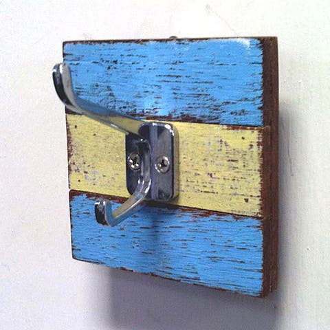 Handmade Recycled Wood Single Coat and Hat Hook (Set of 2) (Thailand)