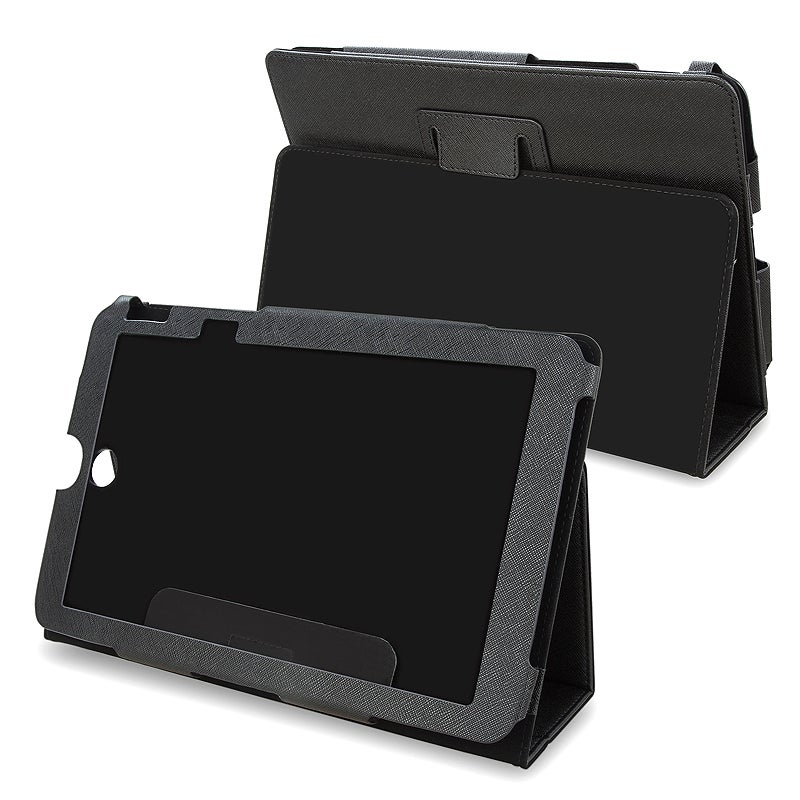 Black Synthetic Leather Case for Toshiba Thrive