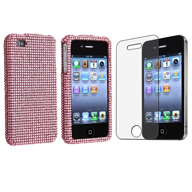Light Pink Bling Case/ Anti-glare Screen Protector for Apple iPhone 4
