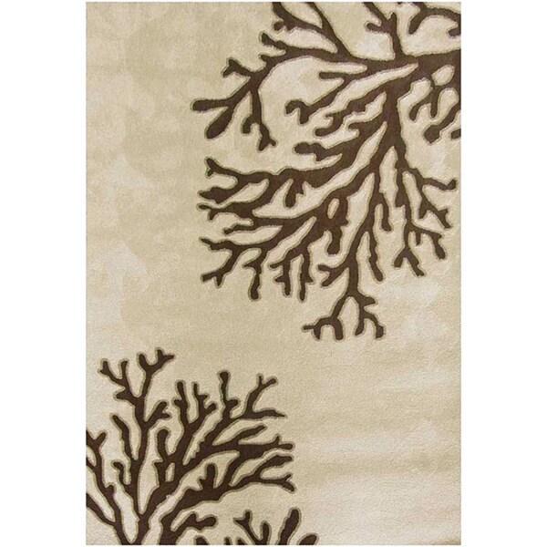 Nepos Hand-hooked Beige Indoor/ Outdoor Rug (5' x 7'6)