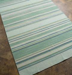 Shop Flat Weave Green Blue Striped Wool Rug 9 X 12